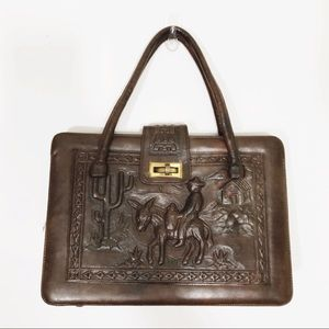 Vintage • Two Tone Hand Tooled Leather Satchel
